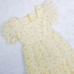 Vintage 60's Pale Yellow Floral Lace Prairie Dress